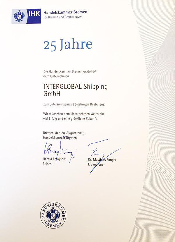 Zertifikat 25 Jahre
